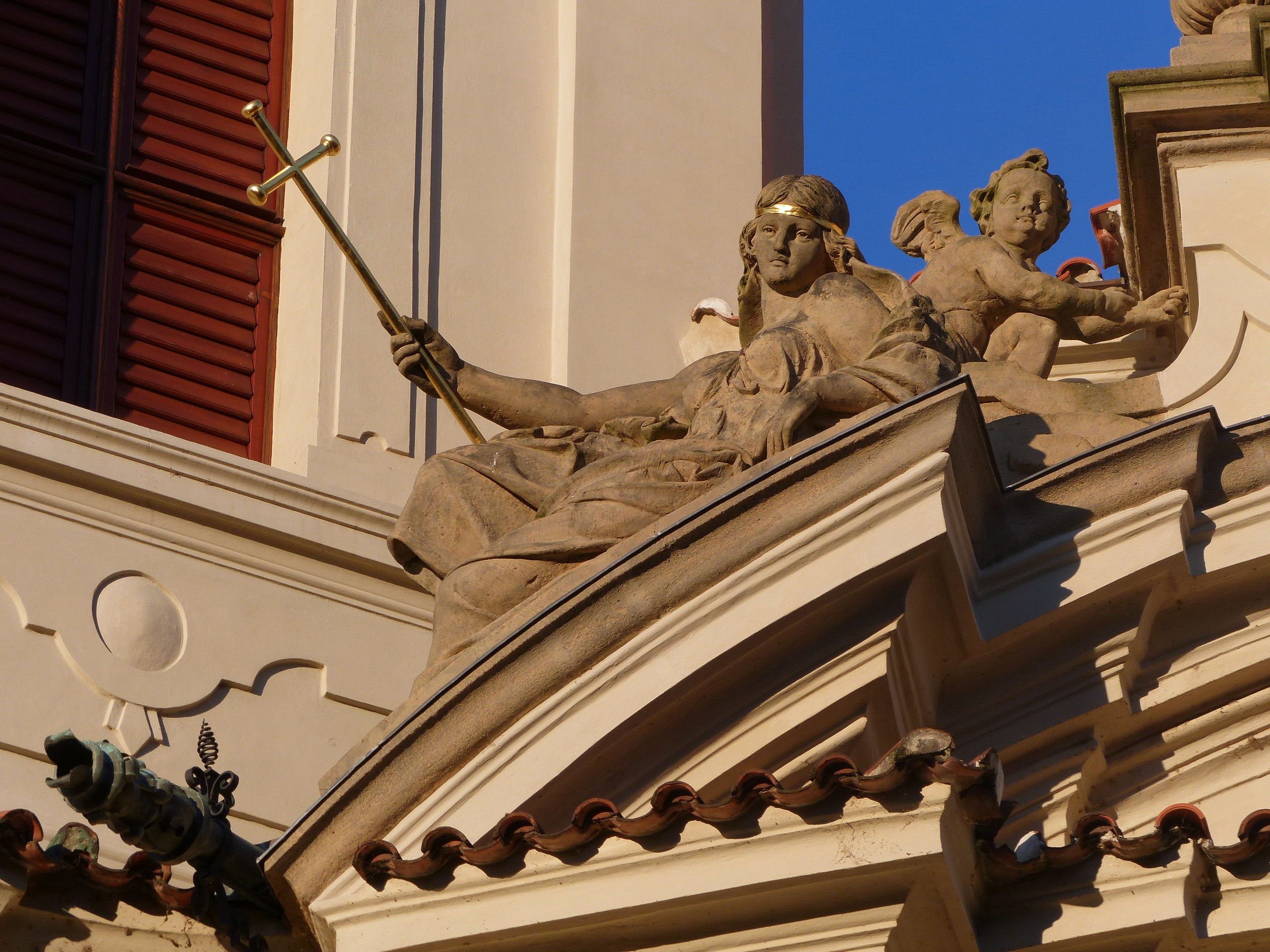 Jan Nepomuk na Skalce, Prague, detail of facade